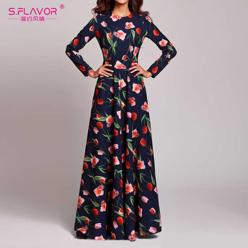 S. FLAVOR/весеннее женское длинное платье в стиле бохо с цветочным принтом, сексуальное праздничное платье с круглым вырезом, женские повседневные платья с длинными рукавами, vestidos De