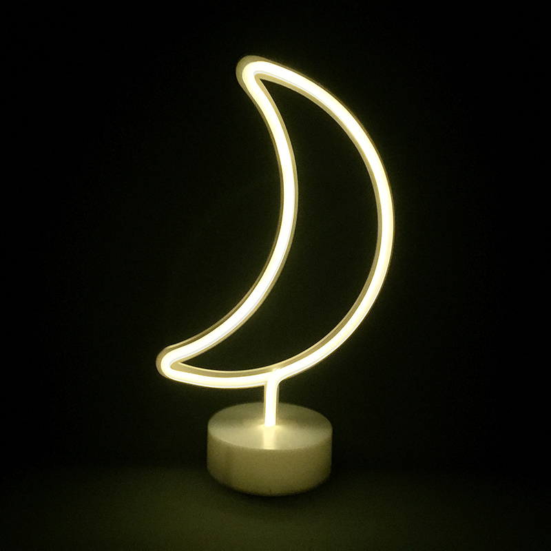 LED neon moon lamp night lighting 3AA batteries operated table lamp home decoration party decoration supply novelty gift