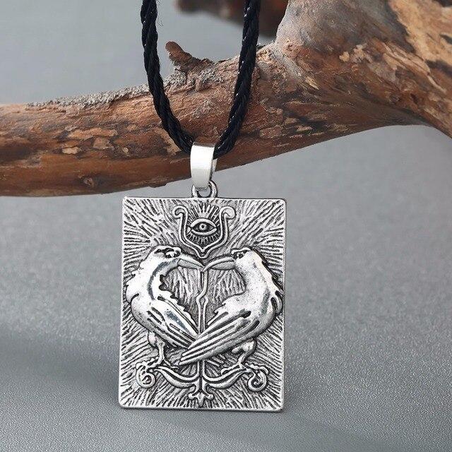 QIMING Valknut Norse Viking Necklace Women Bird Animal Pendant Odin Symbol Huginn Munin Raven Eye Punk Men Necklace 3