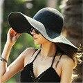 2016 панама летняя мода повседневная Твердые соломы шляпа поездка отпуск залп складной шляпы От Солнца, пляжные шляпы для женщин