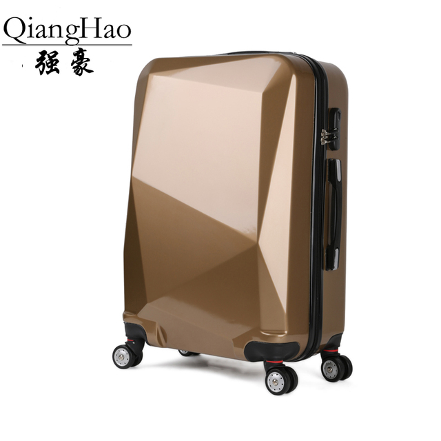 "Hot 20 ""24"" diamond cut surface of extruded ABS + PC 3D trunk luggage box pull  rod box shipping wholesale creative journey"