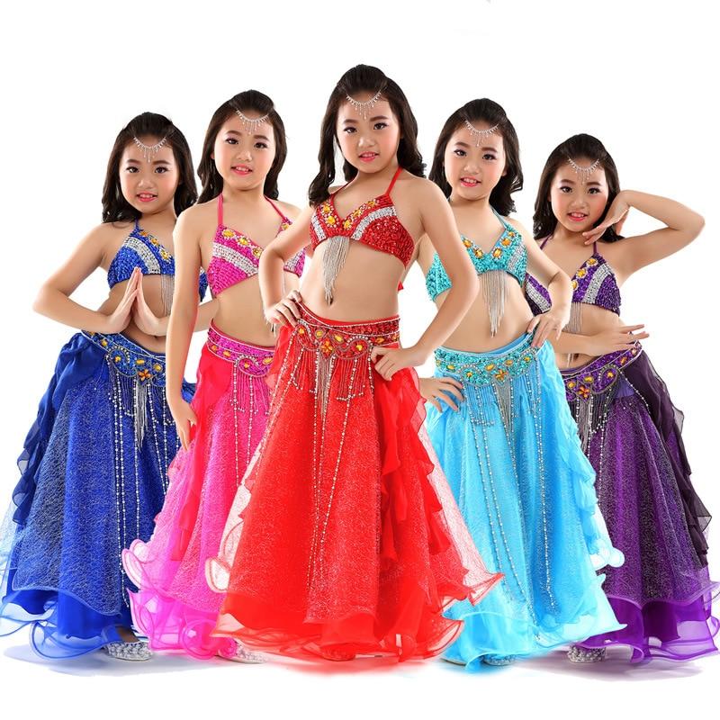 Nouveautés 2018 scène Performance enfants danse vêtements tenues perlées danse du ventre Costume soutien-gorge ceinture maille jupe