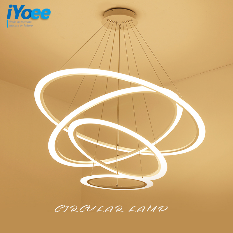 Modern Led Lustre Chandelier Acrylic Ring Living Room Led Lamp Stainless Steel Hanging Light Fixtures Adjustable