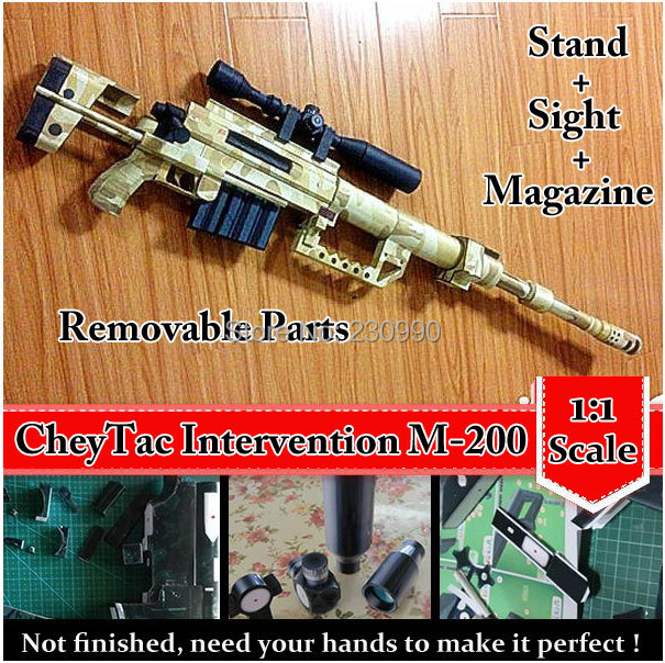 CheyTac Intervention M-200 Sniper Rifle Scaled 3D Paper Model Cosplay Kits Kid Adults' Gun Weapons Paper Models Handmade Toys