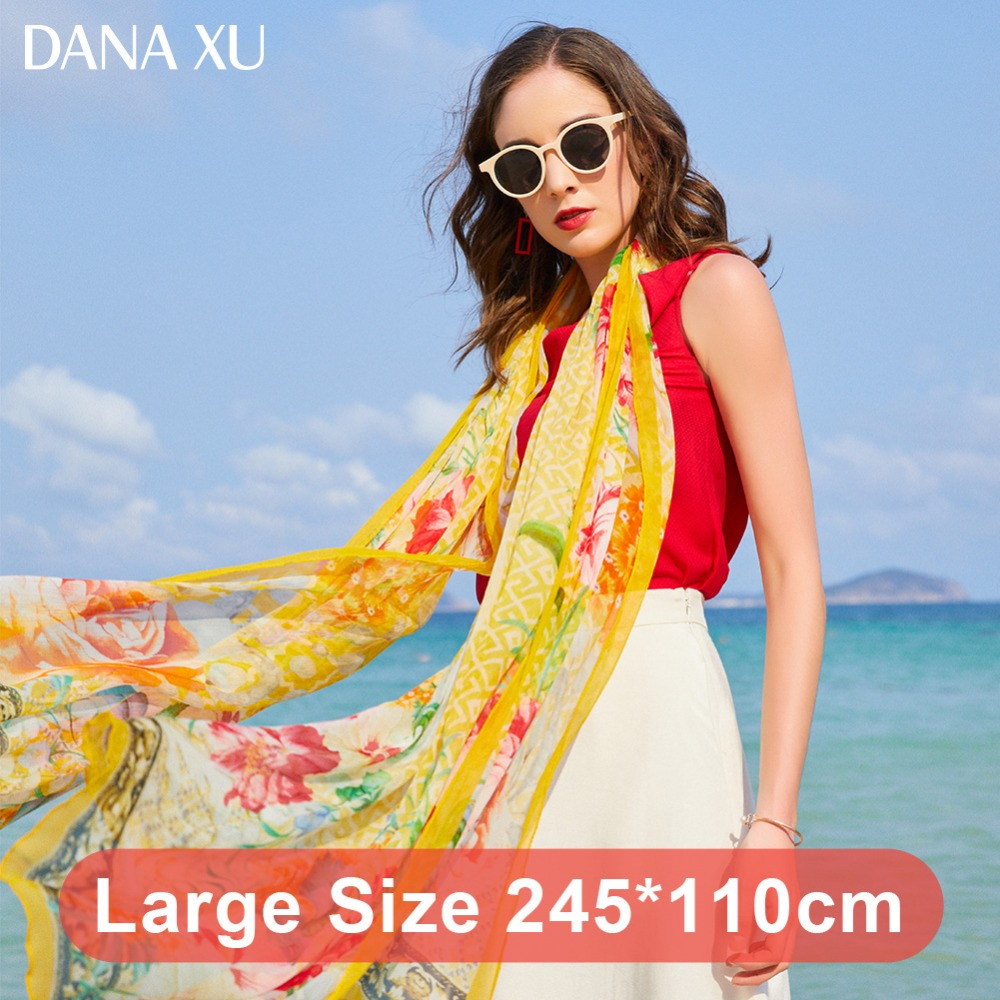 Image 3 - 2019 Silk Long Scarf Luxury Brand Women New Design Beach Blanket Shawl Wear Swimwear Bandana Hijab Face Shield Foulard 245*110cm-in Women's Scarves from Apparel Accessories