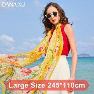 Image 3 - 2019 Silk Long Scarf Luxury Brand Women New Design Beach Blanket Shawl Wear Swimwear Bandana Hijab Face Shield Foulard 245*110cm