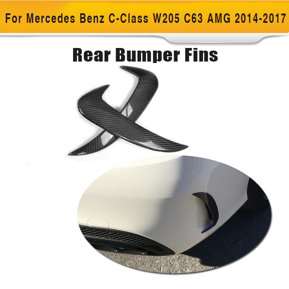 C Class Carbon Fiber Rear bumper Side Trunk decoration Vent Wing for Mercedes Benz W205 Sedan 4 Door Only 14-17 C63 C43 AMG 2PC