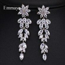 Emmaya – boucles d'oreilles en forme de feuille de cristal pour femmes, longues, en Zircon, style Boho, bijoux de mariage, 3 couleurs