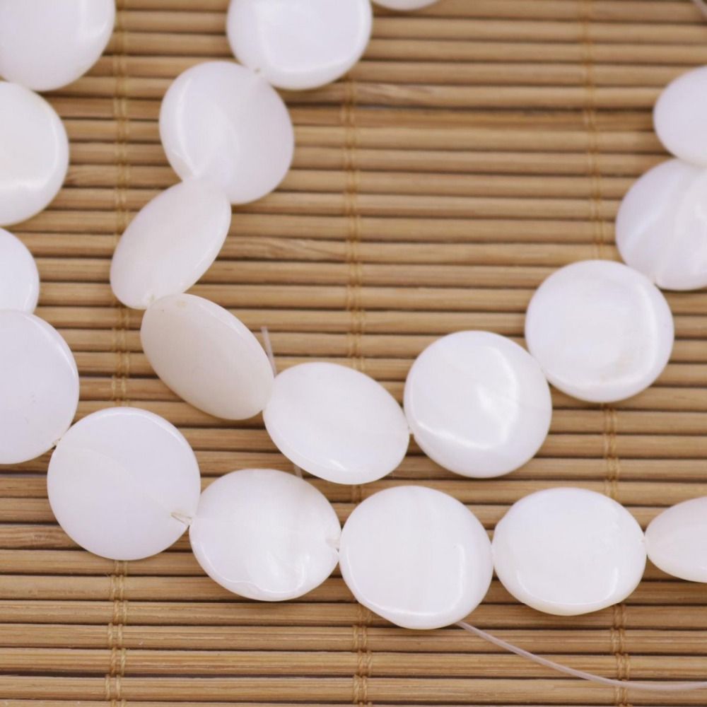 "Купить с кэшбэком 15mm Coin Shell Natural White Mother of Pearl Loose Beads 15"" Jewelry Making DIY"
