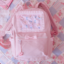 Original Japanese Soft Girl Backpacks Pink Cute Lace Bow Bags  Kawaii Ladies Nylon Backpack Students Daily Girl Style Back Pack