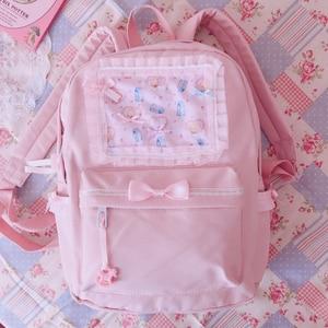 Image 1 - Orijinal japon yumuşak kız sırt çantaları pembe sevimli dantel yay çanta Kawaii bayanlar naylon sırt çantası öğrencileri günlük kız stil sırt çantası