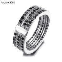 VANAXIN 925 Sterling Silver With AAA Cubic Zirconia Engagement Rings For Women Black CZ Stone Ring Trendy Jewellery Girl Gift