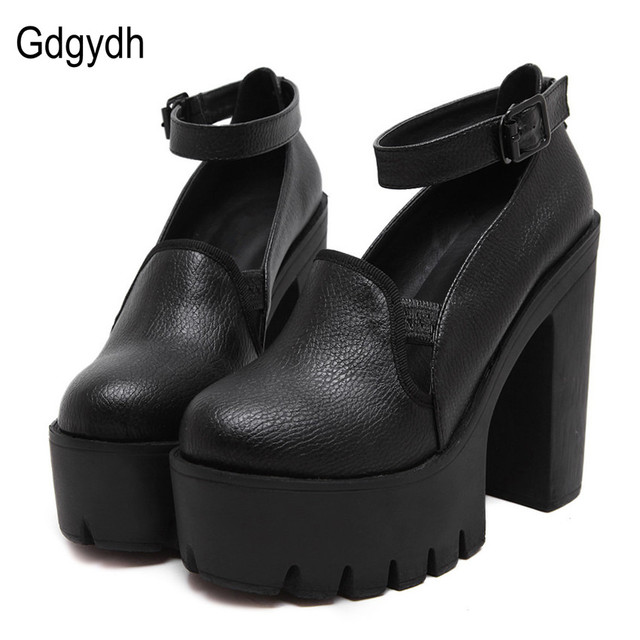 Gdgydh Spring Fashion High Heels Pumps Women Ankle Strap 2017 New Thick High Heeled Shoes Casual Stella Platform Shoes Woman