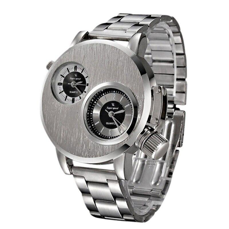 Luxury Brand Stainless Steel Watch Men Two Zone Display Analog Quartz Watch Date Military Sport Wrist