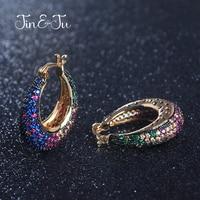 Jin&Ju Beautiful Colorful Color Zircon Crystal Women Wedding Jewelry Ethnic Style Jewelry Round Dangle Earrings E02372