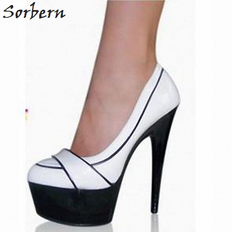 Sorbern White Round Toe Ladies Pumps High Heels Slip On 15Cm Extreme High Heels Women Size 12 High Heels 2018 New Fashion Heel цены онлайн