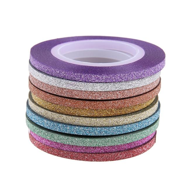 10 Rolls 3mm Nail Art Glitter Sticker Striping Tape Line Laser Shinning Mixed Colors Diy