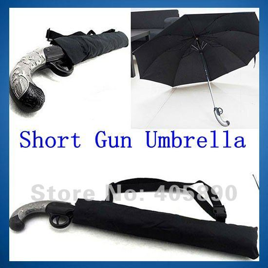Cool Short Gun Umbrella Novelty 2 Folding Auto Open Waterproof Umbrella