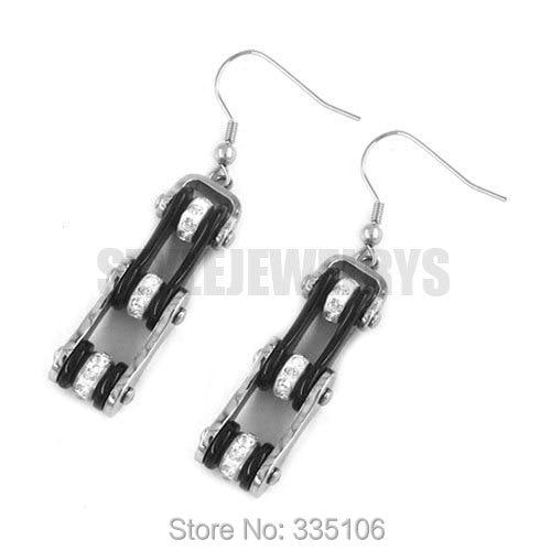 Free Shipping! Black & Silver Bicycle Motor Earring Stainless Steel Jewelry Rhinestone Motorcycles Biker Earring SJE370123LA