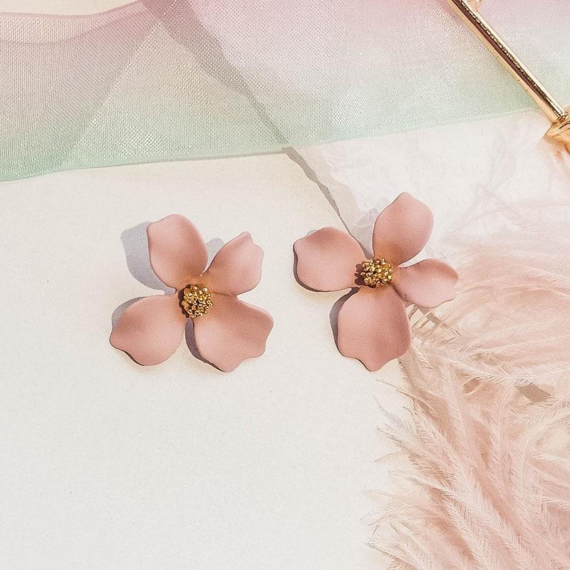 Hot Korean Yellow Pink Sweet Flower Earrings For Women Big ear stud Pendant Gift Fashion Jewelry Wholesale in Drop Earrings from Jewelry Accessories