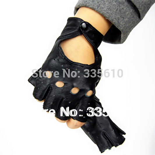 2018 Fashion Style Leather Half Finger Fingerless Mitts ,Female Mitts Women Gloves Genuine Leather Half Finger Arm Sleeve  Lady