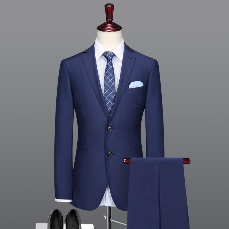 Pre sale мужские костюмы 62% шерсть материал высокого качества деловой мужской костюм повседневные мужские Королевский синий цвет тонкий Весна