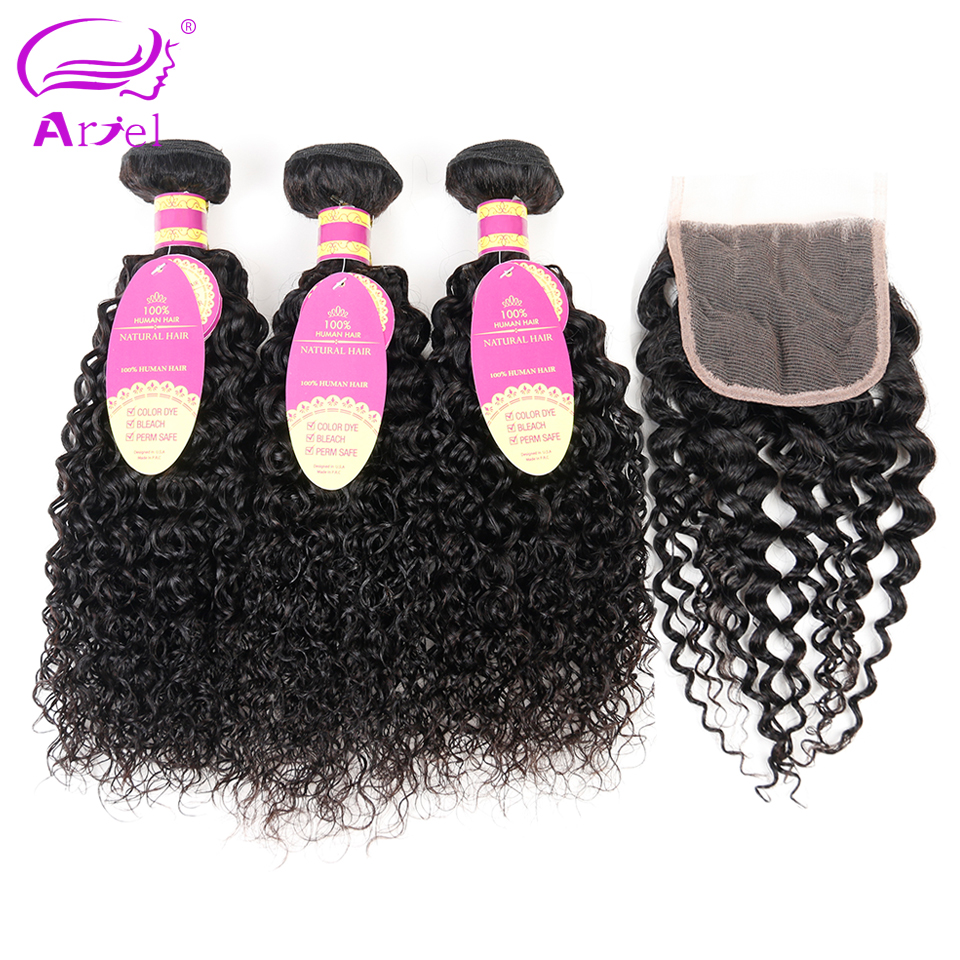 Ariel Brazilian Curly Hair With Closure Free Part Non Remy Human Hair 3 Bundles And Lace