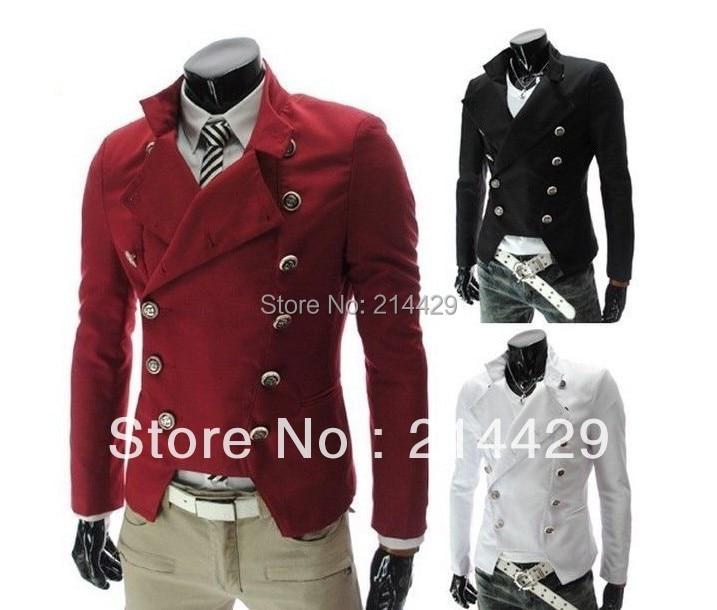 2014 Mens Eu Style Fashion Double Breasted Jackets Short Military Coat Blazer Black Wine Red
