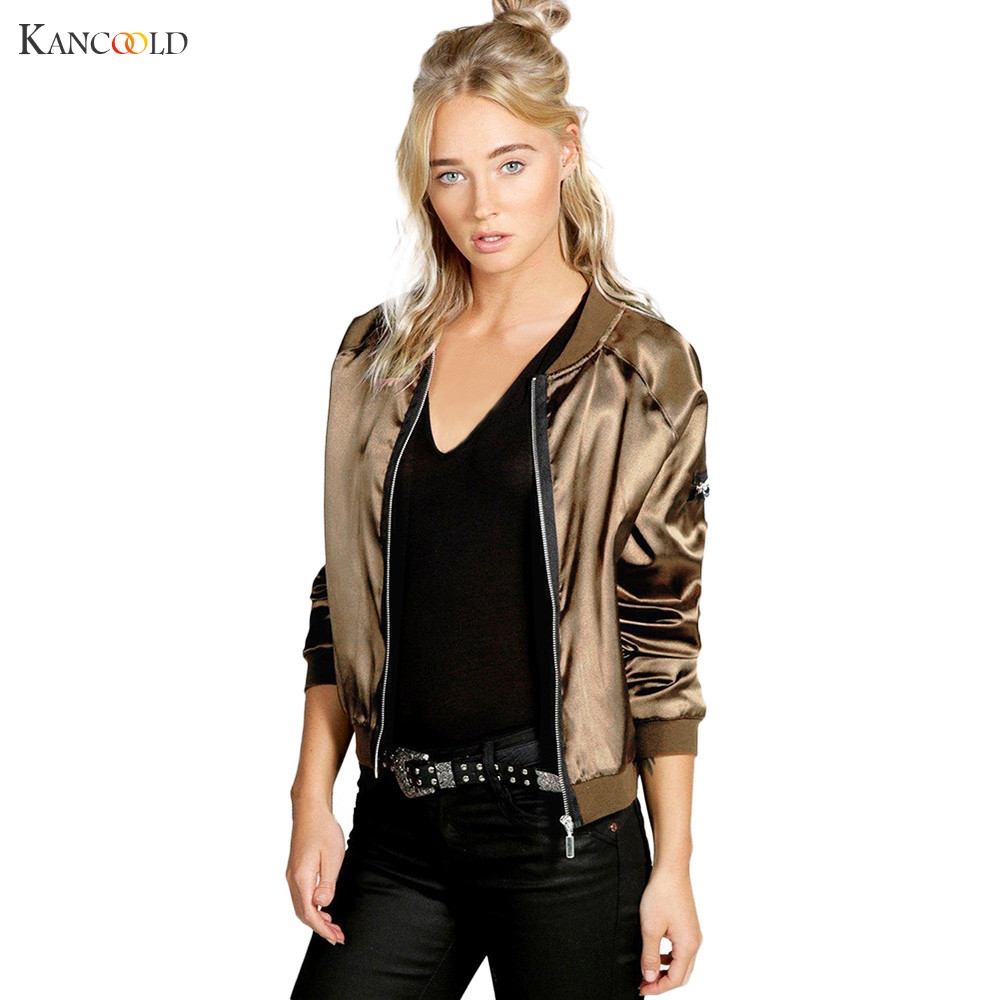 2017 Spring Coat Fashion Solid Short   Basic     Jacket   New Women's Bomber   Jacket   Coat Pilots Outerwear Chaqueta De Mujeres new Dec30