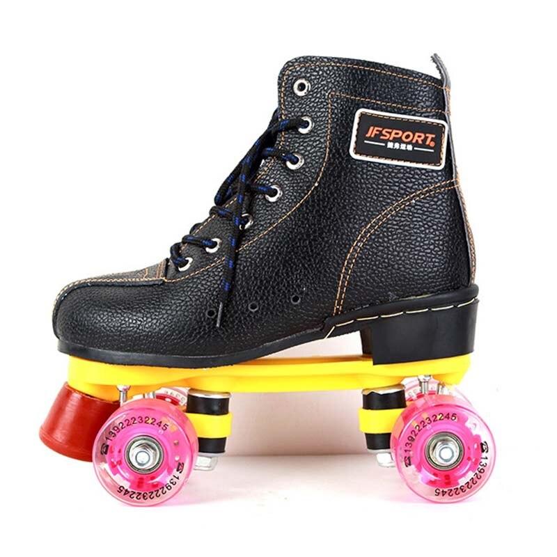 Prix pour 34-44 Patins à roulettes En Cuir Véritable Avec Led Éclairage Roues Double Ligne Patins Adulte 4 Roues Deux ligne Rouleau Chaussures de patinage