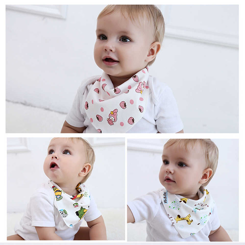 8 pcs/set Baby Bandana Bibs Cotton Baby Feeding Cloth Cartoon  Newborn Saliva Smock Children Burp Cloth Baby Eating Scarf care