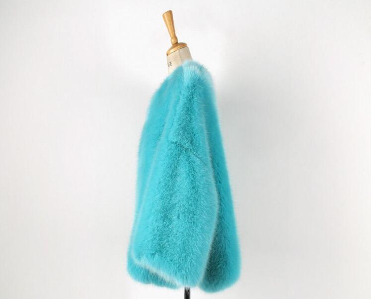 Elegante Lungo Hairy Di Invernali Cielo Shaggy Azzurro Donna Manica Pelliccia Collo Breve O Faux Volpe Giacche Lunga Allentato Cappotto tqr0Et