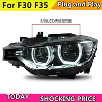 doxa Car Styling for BMW 316i 320i 328 335 Headlights 2013 2015 F30 F35 LED Headlight LED Angel Eyes Headlight assembly