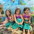 Cosplay Costume Fishtail Princess Ariel Skirt Sets Fancy Green Hot Children Swim suit SwimSuit Mermaid Sets Kids for Girl