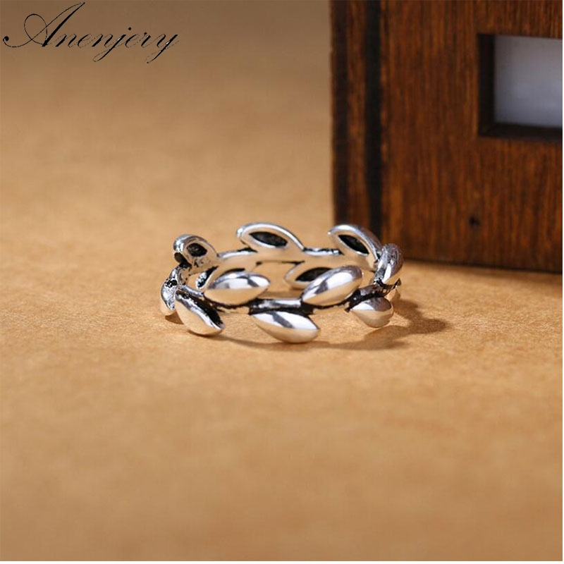 Anenjery 925 Sterling Silver Rings For Women Thai Silver Jewelry  Branch Ethnic Leaves Opening Index Finger Ring S-R271