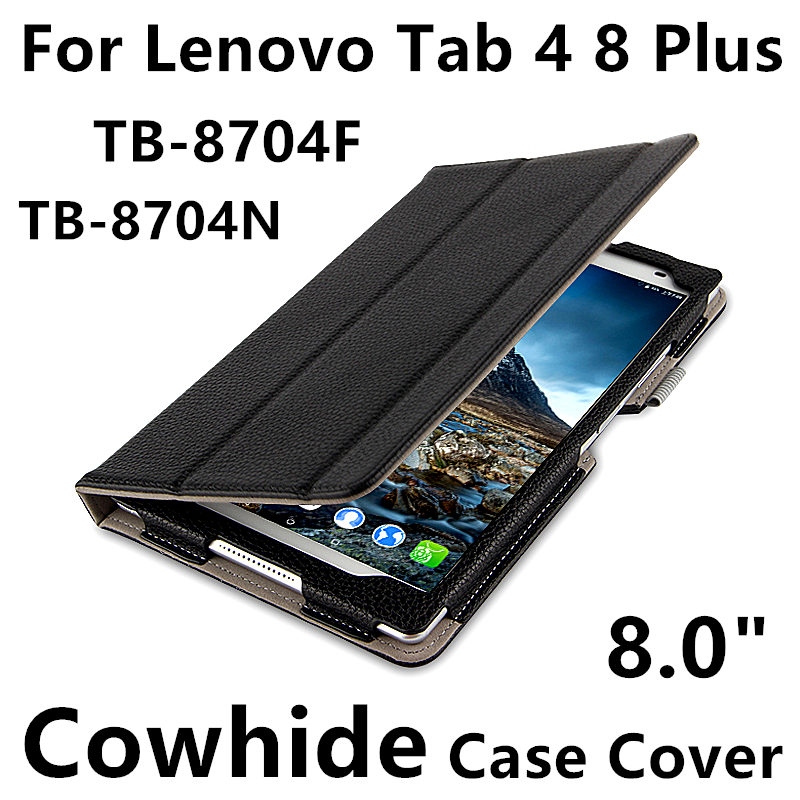 Case Cowhide For Lenovo Tab 4 8 Plsu Protective Protector smart cover Genuine Leather TB-8704F TB-8704N Sleeve Tablet tab48plus magnetic stand smart pu leather cover for lenovo tab 4 8 tb 8504f 8504n 8 0 tablet funda case free screen protector stylus pen