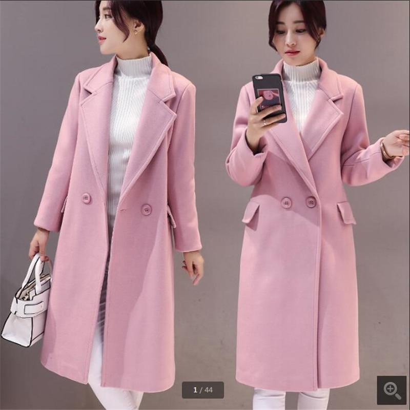 Manteau Hiver gray Pink Femme K3207 Feminino red De Tops Automne Femmes Imitation Casaco Green Cachemire Estudantes Long Mode army Épaississement axgwtWZ