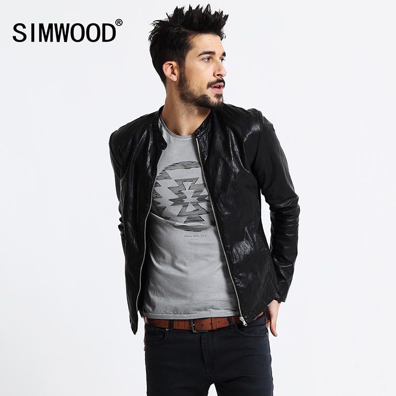 SIMWOOD Brand Motorcycle Leather Jackets Men Spring Winter Clothing Men Leather Jackets Male Casual Coats Free Shipping PY2501 dhl free shipping top brand warm a1 clothing man 100% vintage italy leather jackets thick men s genuine leather biker jacket