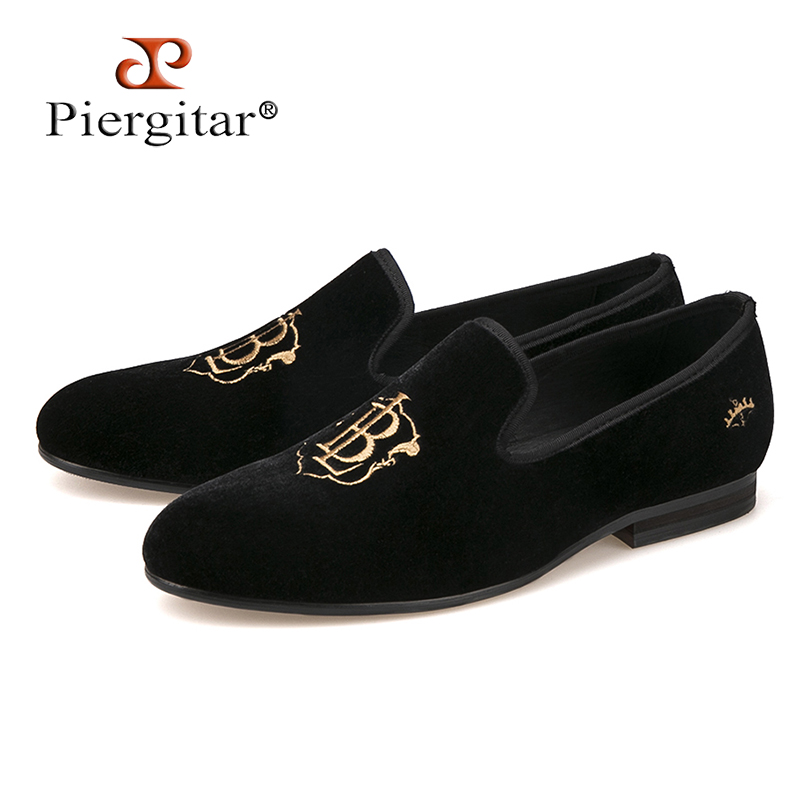 New style fashion men loafers gold embroidery handmade men velvet shoes party and wedding men's flat size US 4-17 freeshipping цена