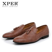 2019 XPER Brand New Leather Casual Shoes Men Luxury Loafers Handmade Dress Shoes Fashion Wedding Footwear Male Black #XHY50706