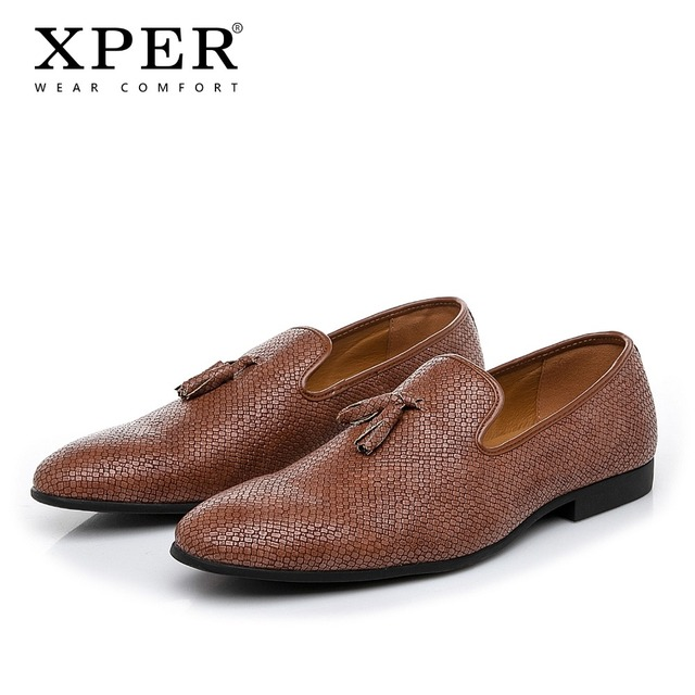 2019 XPER брендовая новая кожаная повседневная обувь мужские роскошные Лоферы ручной работы модельные туфли модная свадебная обувь Мужская Черная # XHY50706