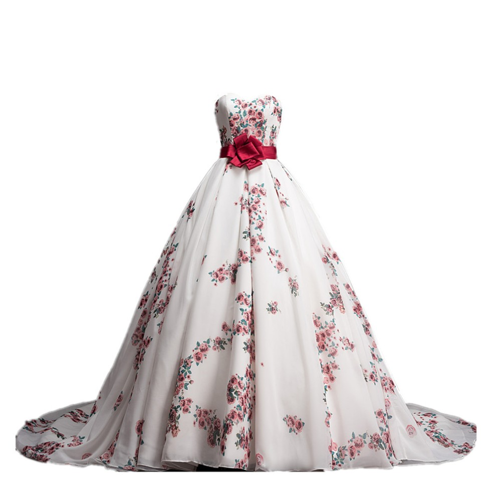 MDBRIDAL Ball Gown Floral Printed Wedding Dress Chapel Train Chiffon ...