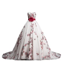 MDBRIDAL Ball Gown Floral Printed Wedding Dress Chapel Train Chiffon Satin Flowers Pattern Ivory Bridal Gown Custom Made