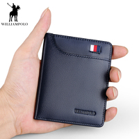 WILLIAMPOLO genuine leather men wallets slim thin credit card holder male pocket small purse simple short walletDXKR42ZEs3