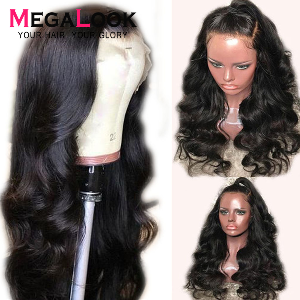 Lace Front Wig Human Hair Wig Body Wave 180 Density 12 34 inch Remy pre plucked