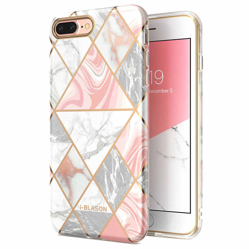 For iphone 7 8 Plus Case i-Blason Cosmo Lite Stylish Hybrid Premium Protective Slim Bumper Marble Cover with Camera Protection