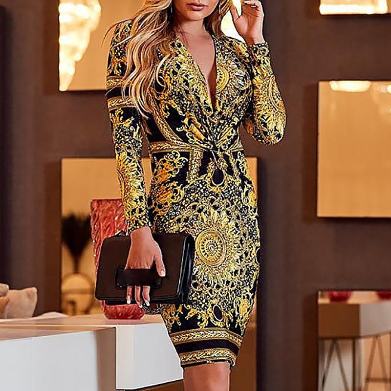 <font><b>2018</b></font> Ethnic print plunge twist front long sleeve <font><b>dress</b></font> women <font><b>Sexy</b></font> v neck club party <font><b>dress</b></font> Autumn fashion <font><b>bodycon</b></font> vestidos mujer image