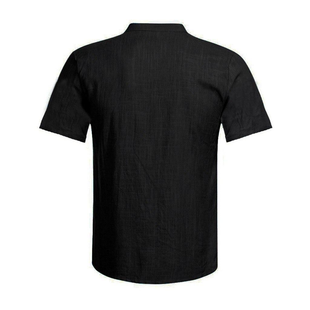 Men's Casual Blouse Cotton Linen shirt Loose Tops Short Sleeve Tee Shirt S-2XL Spring Autumn Summer Casual Handsome Men Shirt 15