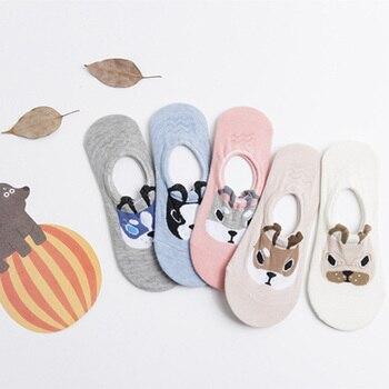 Nuevo 5 par/lote de lindos dibujos animados 3D perros de algodón bajo Invisible cómodo Scok zapatillas para mujeres y niñas toda la temporada