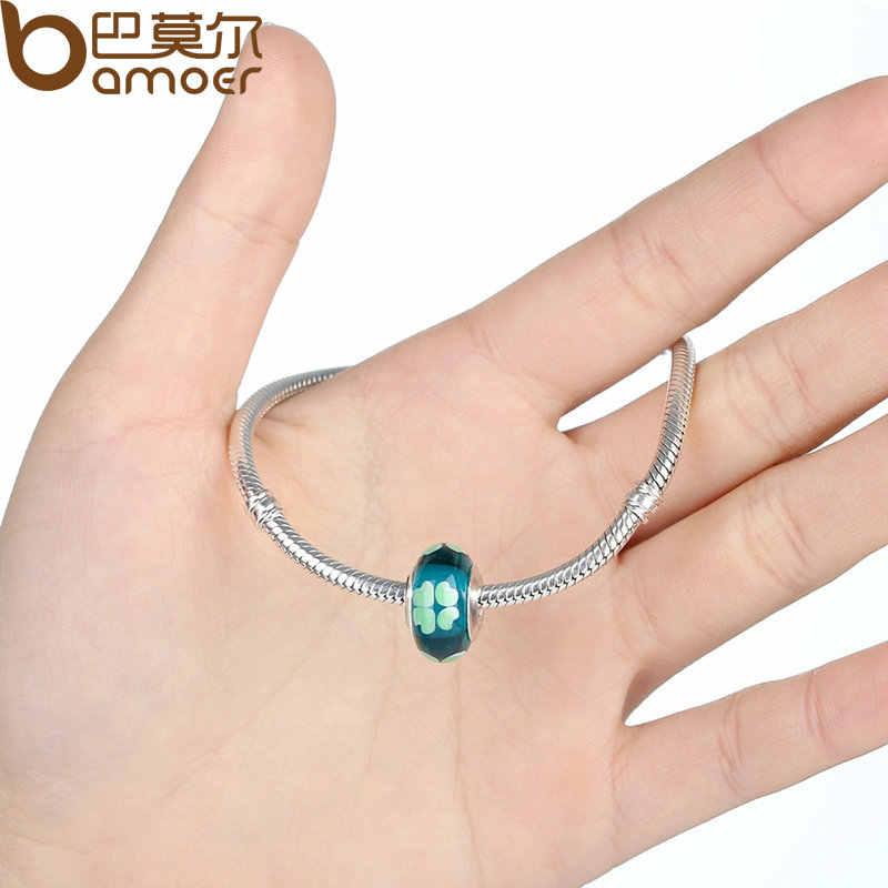 BAMOER hurtownie DIY europejskie zielone szklane serce koraliki Fit koraliki bransoletki i bransoletki kolor srebrny biżuteria ustalenia PA6346